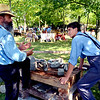 Stonecutters Rich Klase, left, and Patrick Kijek talk about technique at their cobblestone making demonstration at the Goschenhoppen Folk Festival Aug. 12, 2016.  |  BOB RAINES--DIGITAL FIRST MEDIA