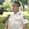 Fifth District police Capt. John Moroney explains to Fox News the purpose behind the Community Day outing.  Rick Cawley — For Digital First Media