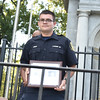 Rick Cawley — For Digital First Media<br /> Tyler Leber, on behalf of the firefighters, accepts an award for service to the community from the 21st Ward Veterans Association.