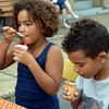 Debby High — For Digital First Media<br /> Siblings Tiarah and Jayden Charity, of Perkasie, enjoy cold treats from Kool-Licks during the Pennridge Gallery of the Arts.
