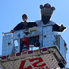 Sellersville firefighter Lt. Tyler Gray and Iron Pigs mascot Ferrous stand in the bucket of a firetruck at the 2016 SeptemberFest in James Memorial Park in West Rockhill Sunday, Sept. 25.  Debby High — For Digital First Media