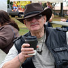 Alvin Serota, of Telford, relaxes with coffee at the Souderton Art Jam Saturday, Sept. 24.  Debby High — For Digital First Media