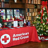 American Red Cross of Lehigh Valley Bucks decorated the small library window and left bench.  Debby High — For Digital First Media