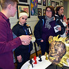 Pennridge senior Nick Carlson discusses his sculpture. Debby High — For Digital First Media