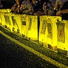 Illuminated bags in tribute to those who have battled cancer lining the Wissachickon High School track during the Luminary Ceremony on Friday night, May 13relay for life luminaria