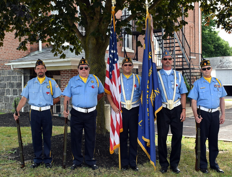 Debby High — For Digital First Media<br /> American Legion Nas-Kraft Post 255 members Chris Janney, Walt Bealer, Frank Brown, Dan Hess and Lloyd Dooley gave the 13-gun salute during the National Bell Ringing Ceremony held at the Sellersville Museum on the Fourth of July.