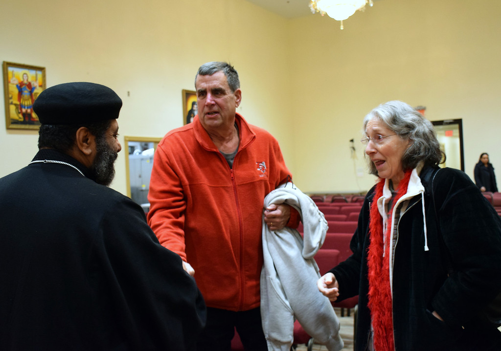 . Father Antonious Salib of St. Mary & St Kyrillos Coptic Orthodox Church welcomed those who came to join in prayer. Debby High for Digital First Media
