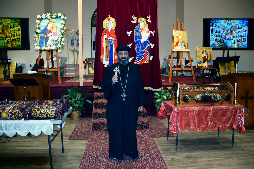 . Father Antonious Salib of St. Mary & St Kyrillos Coptic Orthodox Church held a prayer vigil for the terror attack in Egypt on December 11, 2016. Debby High for Digital First Media