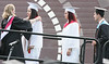 William Tennent High School seniors get a final robe adjustment before they continue up the ramp for their diploma June 15, 2016. // BOB RAINES--DIGITAL FIRST MEDIA