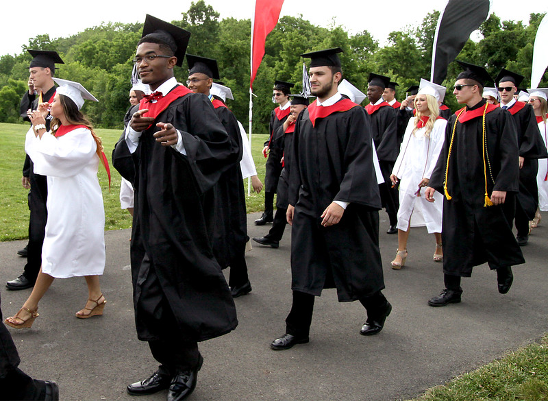 William Tennent High School seniors march to the stadium for commencement June 15, 2016. // BOB RAINES--DIGITAL FIRST MEDIA