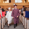 Submitted photo — Faith Christian Academy<br /> Kirah Brown and Derek Crivello walk into Faith Christian Academy's commencement ceremony.