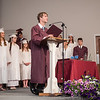 Submitted photo — Faith Christian Academy<br /> Class Chaplain Zach DeMar opens the ceremony in prayer.