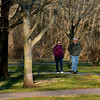 A couple takes advantage of the warm, sunny weather to walk at Fischer's Park, Harleysville Jan. 25, 2017.  (Bob Raines--Digital First Media)