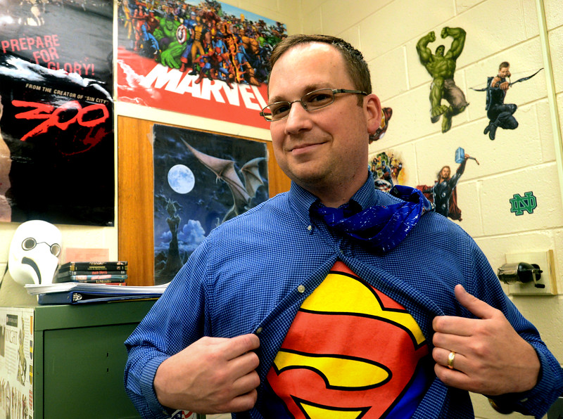 Bob Raines--Digital First Media<br /> Wissahickon High School social studies teacher Tim Smyth incorporates comic books inhis lessons.
