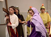 Veronica (Sarah Murphy) pushes past the Roman guards to wipe the face of Jesus (Michael Rebar) as fifth-graders perform the Living Stations of the Cross at Visitation BVM Church, Norristown, Mar. 24, 2016. // Bob Raines--Digital First Media