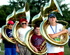 Sousaphone players stand by to re-run a set during the North Penn Marching Knights band practice  Aug. 17, 2016..  |  BOB RAINES--DIGITAL FIRST MEDIA
