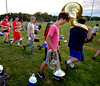 The North Penn Marching Knights leave the practice field to take part in an NPTV teacher convocation video Aug. 17, 2016..  |  BOB RAINES--DIGITAL FIRST MEDIA