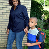 Debby High — For Digital First Media<br /> Shannon Peters walks with her son, Christian, on his first day of kindergarten at Guth Elementary Monday, Aug. 29.