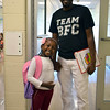 Debby High — For Digital First Media<br /> Ashley and her dad, Anthony Muikia, came with smiles to her first day of kindergarten at Guth Elementary Monday, Aug. 29.