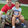 Debby High — For Digital First Media<br /> Craig Mancuso sees his daughter, Lylia, off for her first day in kindergarten at Guth Elementary Monday, Aug. 29.