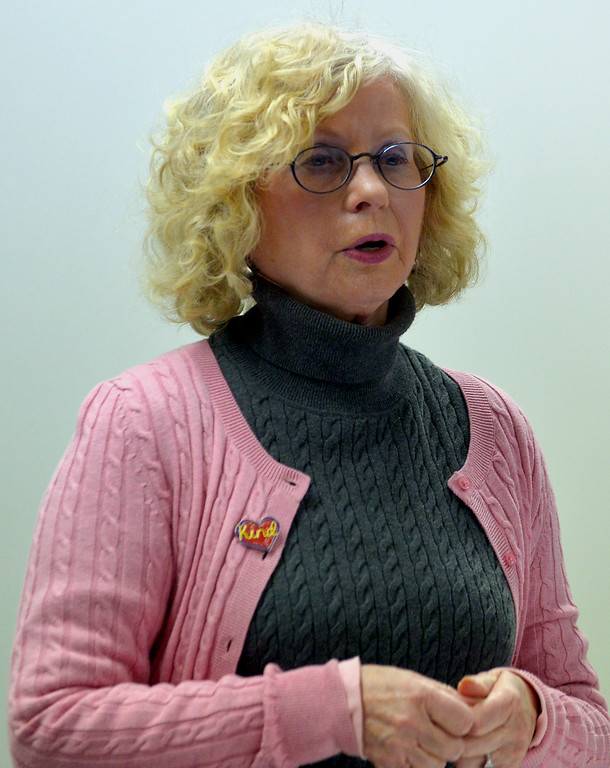 . Diane Williams, a veteran of past protest marches, speaks on how to prepare for the Women\'s March on Washington to Montgomery County women gathered at the Wissahickon Valley Public Library in Blue Bell Jan. 14, 2017.  (Bob Raines--Digital First Media)