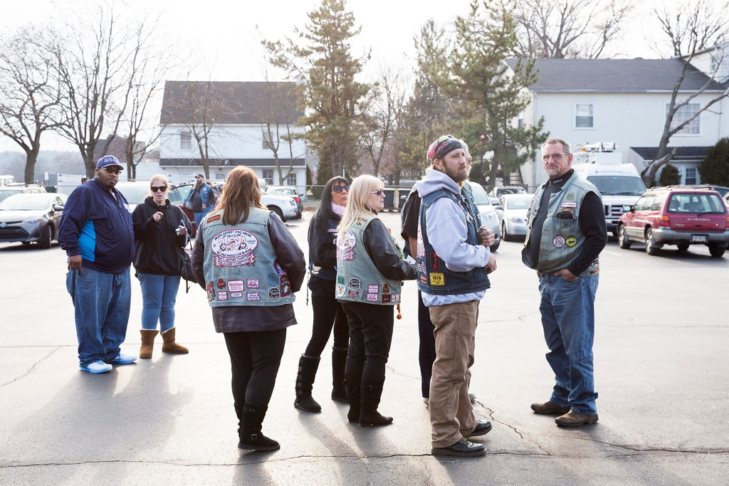 . Members of the Bikers Against Child Abuse group gather in the parking lot of the New Life Presbyterian Church. The memorial service was attended by many of the group�s members, in addition to another biker group called Motorcyclists for Jesus. Rachel Wisniewski � For Digital First Media