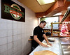 Owner Davide Sowhanger prepares a pizza crust at Broad St. Pizzeria & Grille, Souderton Feb. 7, 2017.  (Bob Raines--Digital First Media)