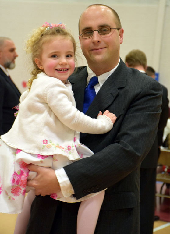 . Megan with her dad Tim Kolesar at at Indian Valley YMCA annual Daddy Daughter Dance last Saturday night. Debby High for Digital First Media  Debby High � For Digital First Media