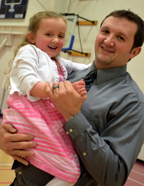 . Jon Clemmer dances with his daughter, MacKenzie, during the Daddy Daughter Dance at the Indian Valley Family YMCA Saturday, Feb. 11.  Debby High � For Digital First Media