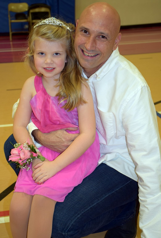 . John Brown and his daughter, Vivienne, enjoy the Daddy Daughter Dance at the Indian Valley Family YMCA Saturday, Feb. 11.  Debby High � For Digital First Media