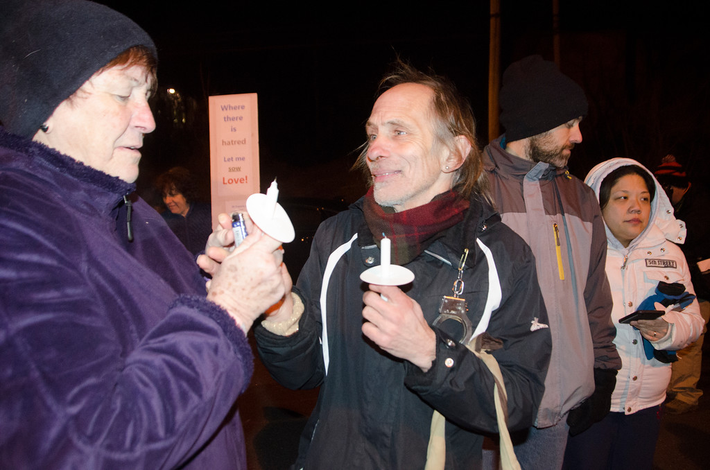 . State Rep. Thomas Murt, R-152, hosts a candlelight vigil to promote peace, tolerance and understanding in the community Feb. 8 at Veteran�s Memorial Park in Willow Grove. The event was held in response to the recent unsolicited local distribution of literature promoting discrimination and intolerance. Christine Wolkin � For Digital First Media