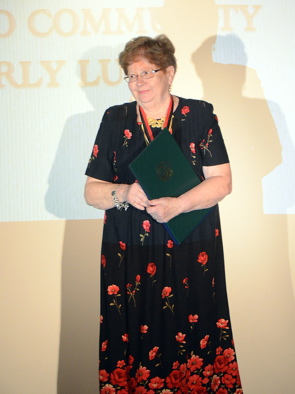 . Beverly Lutz receives the Service to Community Award.  Christine Wolkin � For Digital First Media