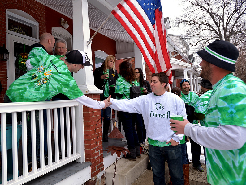 Pub  crawlers assemble outside the McDonald house, Lansdale for a group photo the 10th Annual Lansdale Pub Crawl March 18, 2017.  (Bob Raines--Digital First Media)