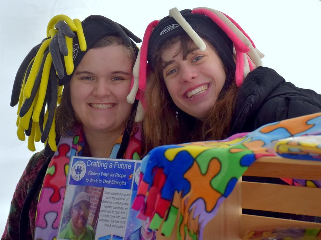 . Sarah Uricchi and Jenni Kelly of Crafters For Life man a booth at the Pennridge Celtic Fest at the Sellersville Fire Company Picnic Grove Saturday, March 18.  Debby High � For Digital First Media