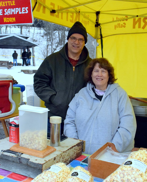 . J & J of J & J Kettle Korn were bundled up to weather the cold damp day at Pennridge Celtic Fest on Sunday, March 18, 2017. Debby High/Digital First Media  Debby High � For Digital First Media