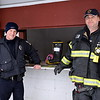 Perkasie Borough police Officer Ryan Richardson and Sellersville Fire Deparment Assistant Chief Tom Louden man the fire prevention booth at the Pennridge Celtic Fest at the Sellersville Fire Company Picnic Grove Saturday, March 18.  Debby High — For Digital First Media