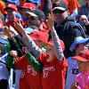 (Bob Raines--Digital First Media)___<br /> Players cheer for their favorite mascot racing around the bases at Hatfield-Towamencin Opening Day April 8, 2017.