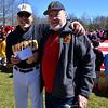 (Bob Raines--Digital First Media)___<br /> Bob Kaler, right, president of American Legion Post 933, present a check for $1000. to Jeff Klinger for the Hatfield-Towamencin Little League program on opening day April 8, 2017.