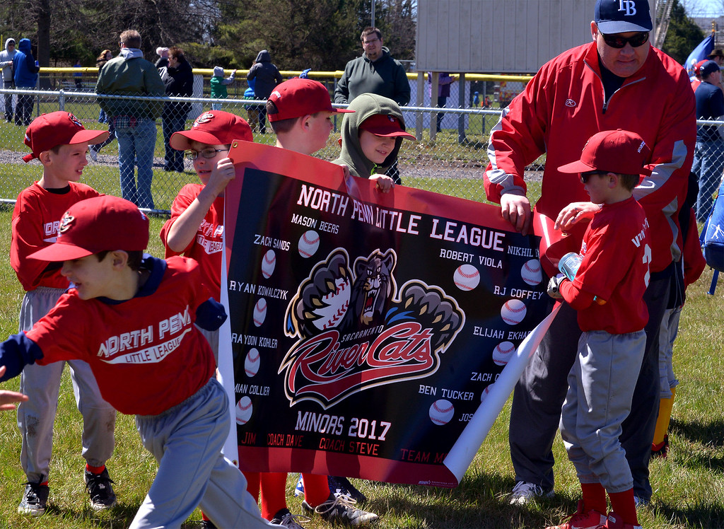 . (Bob Raines--Digital First Media)___ North Penn Little League River Cats try to get their team banner organized for the opening day ceremony April 8, 2017.