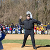 Cheltenham police Chief John Frye throws the official first pitch of the season during Cheltenham Little League's opening day celebration April 8.  Rachel Wisniewski — For Digital First Media