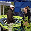 Perkasie Councilman Aaron Clark and his wife, Kate, check out the Perkasie popup park Saturday, April 22.  Debby High — For Digital First Media