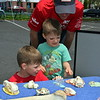 Steve Flanery and his sons, Breck and Trey, learned through the bones of local animals at the Perkasie popup park Sunday, April 23.  Debby High — For Digital First Media