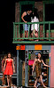 After they have spent the night together Nina (Jayna Lashe) and Benny (Preston Hill) talk about their relationship while below Carla, Daniela, Vanessa and Sonny shuffle through the debris of Usnavi's vandalized bodega.  (Bob Raines/Digital First Media)