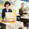Gabe Fluehr, left, and Norah Conlin pose as candy tycoon Milton Hershey and pilot Amelia Earhart, respectively.  Rachel Wisniewski — For Digital First Media