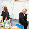 Naomi Claire, right, poses as Hillary Clinton in Shaun Okawa's class' portion of the Erdenheim Elementary School wax museum.  Rachel Wisniewski — For Digital First Media