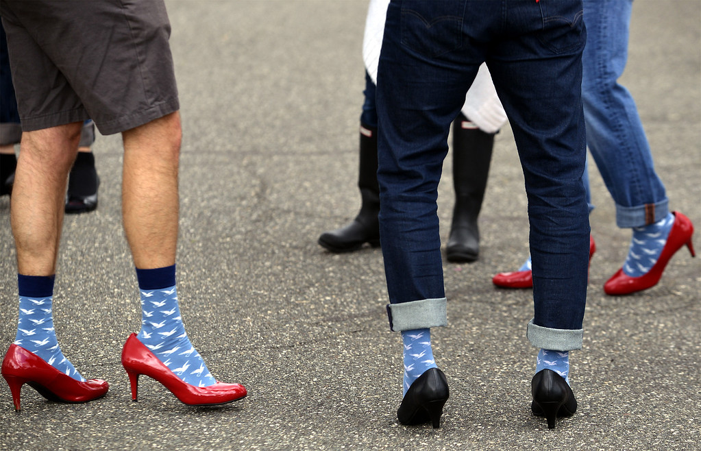 . Walkers wait around for the start of the Walk A Mile In Her Shoes event benefiting Laurel House at Heebner Park, Worcester May 6, 2017.  (Bob Raines/Digital First Media)
