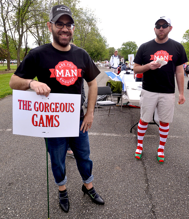 . Alex Douvartzidis, left, and Andy Glass wait for the start of the Walk A Mile In Her Shoes event benefitting Laurel House at Heebner Park, Worcester May 6, 2017.  (Bob Raines/Digital First Media)