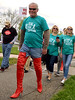 One member of the Wear Teal for Kaitlyn team got to wear a pair of red thigh-high stiletto-heeled boots for the Walk A Mile In Her Shoes event benefiting Laurel House held at Heebner Park, Worcester May 6, 2017.  (Bob Raines/Digital First Media)