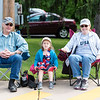 Linda Browne, Ava Browne and Carl Crouthamel, of Hilltown, come out to celebrate during the Pennridge area Memorial Day parade in Sellersville Saturday, May 27.  Jeff Davis — For Digital First Media