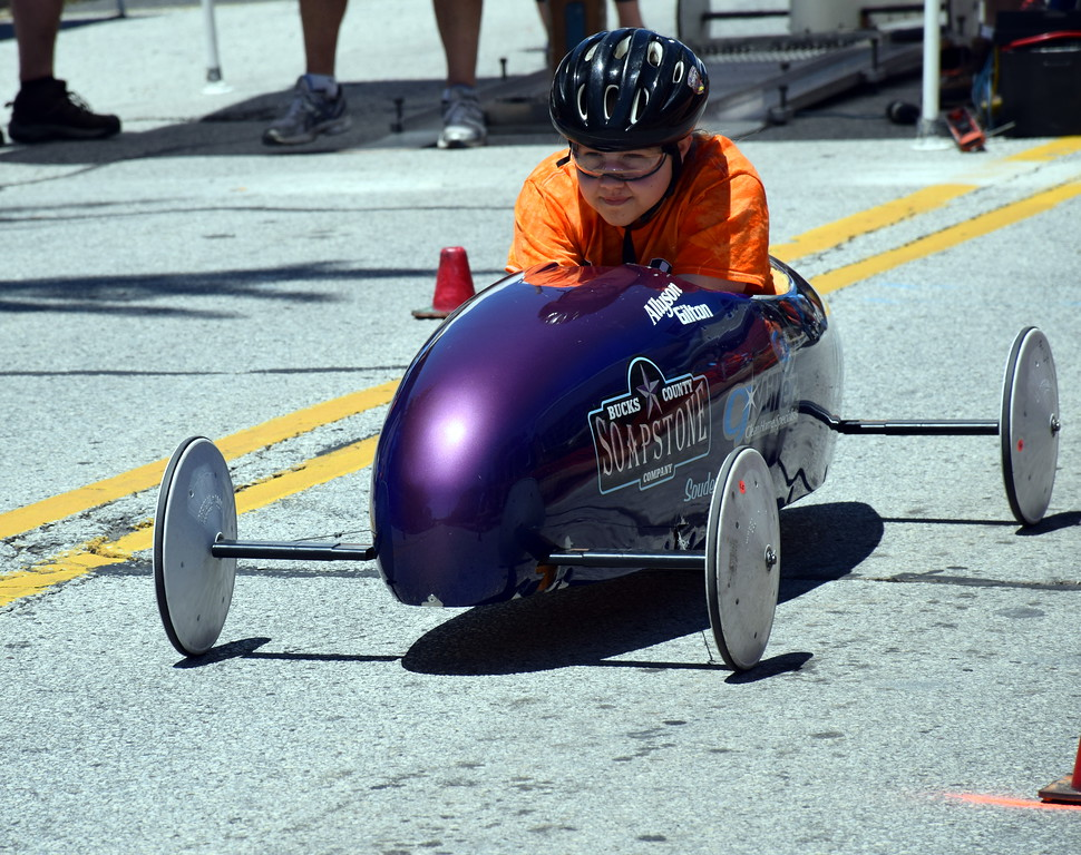 . Allyson Gilton races in the Indian Valley Soap Box Derby in Souderton Saturday, June 3.  Debby High � For Digital First Media